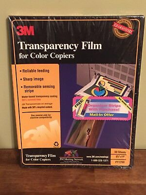 "3M Transparency Film for Color Copiers 50 Sheets 8.5""x11"" PP2260 New Sealed"