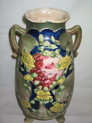 Antique 3 Footed Dual Handle Oriental Asian Scene Painted Raised Decor Vase NICE