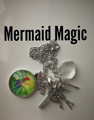 Code 281 Magical Mermaid clear quartz Infused Necklace Magic Myth Sea treasure