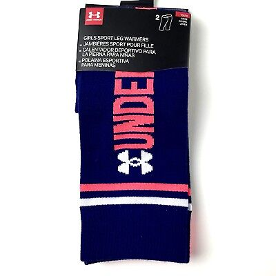 Under Armour Girl Youth Sport Leg Warmers One Size 2 Pk Blue Grey Dance Athletic