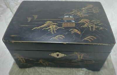 Org Vintage Wooden Oriental Jewelry Box- Mother of Pearl Inlay- Hand Painted