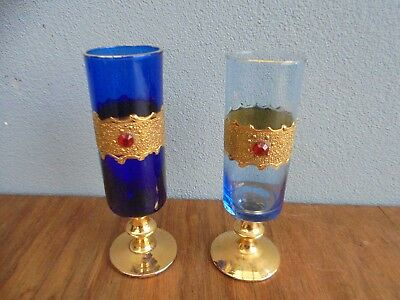 Pair of Vintage Retro Italy Blue & light Blue  Colour  Art Glass  made in Italy