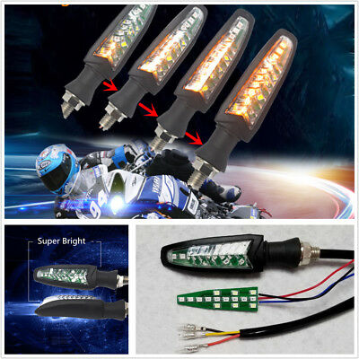 Pair Universal Motorcycle LED Flowing Turn Signal Indicator Light DRL Amber+Red