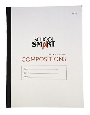 "School Smart Stitched Cover Composition Book, Red Margin, 8 x 10-1/2 "", 48 Pages"
