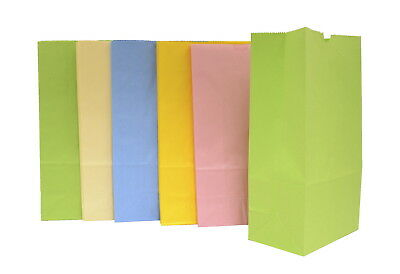 School Smart Flat Bottom Paper Bag, 6 X 11 in, Assorted Pastel Color, Pack of 28