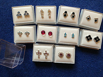 JOB LOT-10 pairs of coloured diamante stud earring.Gift boxed.Silver plated.