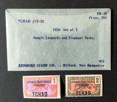 1924 Set of 2 CHAD Overprint Stamps Scott #19-20 MH Leopards & Elephant Tusks
