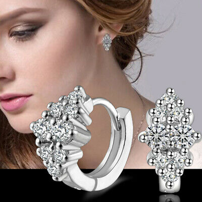 Fashion 925 Sterlin Sliver Women Crystal Rhinestone Hoop Earrings Ear Stud