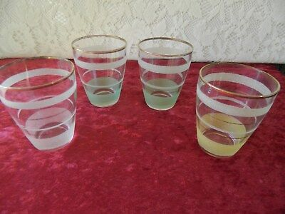 VINTAGE/RETRO HARLEQUIN FROSTED GLASSES - 1950's  x 4