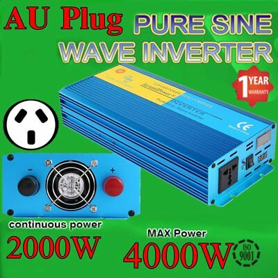 AU Plug 2000W Power Inverter Max 4000W Pure Sine Wave 12V -240V CAR CARAVAN VW