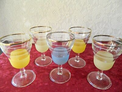 VINTAGE/RETRO HARLEQUIN FROSTED WINE GLASSES x 5 - 1950's