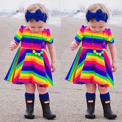 AU Princess Kids Baby Girl Rainbow Party Pageant Dress Sundress Casual Clothes