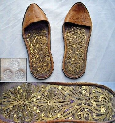 Antique Turkish Ottoman Caucasian Indian Silver Gold Embroidered Islamic Shoes