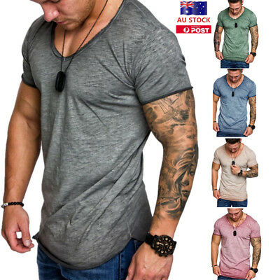 Mens Slim Fit Short Sleeve Crew Neck T-Shirt Casual Muscle Plain Basic Tee Tops