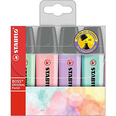 Stabilo Boss Original Pastel Highlighters 4 Assorted Pastel Colours 49692 Wallet