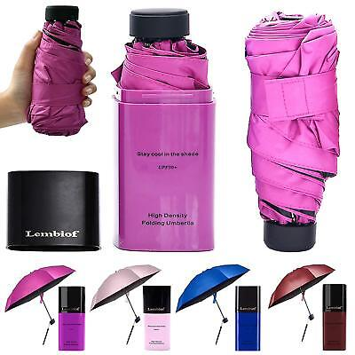 Lembiof Mini Travel Umbrella with Waterproof Case, 6 Ribs Finest 99% UV Compact