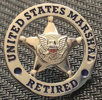 USMS - US Marshals Service RETIRED - shiny silver lapel Pin
