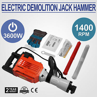 3600W Electric Demolition Jack Hammer Punch Brick Concrete Breaker 360° swivel
