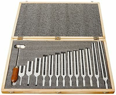United Scientific TFBOX13 Tuning Fork Wooden Box Set With Mallet, 13 Forks