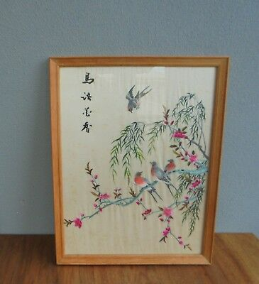 Vintage silk Chinese Embroidery Flower with Four Birds Framed