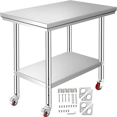 "Rolling Stainless Steel Top Kitchen Work Table Cart + Casters Shelving 36""x24"""