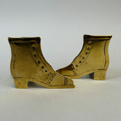 Antique Pair Of Victorian Brass Shoe Form Spill Holders C.1880