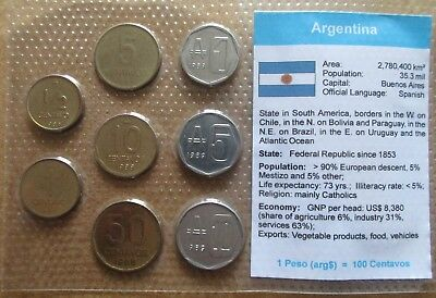 Argentina..  8 Uncirculated Coins..in Plastic Cover