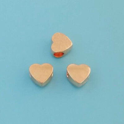 10 x Rose Gold Heart Spacer Beads for Jewellery Making 4mm Hole