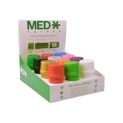 12 MedTainer Smell Proof Storage Containers w/ Built-In Grinder - MIXED COLORS