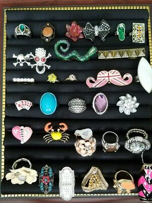 Lot Of 30 Vintage Mod Fashion Ring Variety Cocktail Costume Estate Rhinestone R1