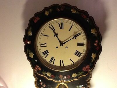 Victorian Mother of Pearl Polychrome Papier Mache 8 day Drop Dial Wall Clock