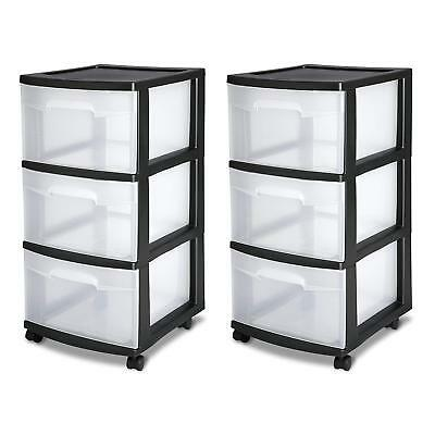 3 Drawer Organizer Set Of 2 Cart Black Plastic Craft Storage Container  Rolling