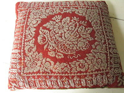 Antique Throw Pillow, Glass Beaded On Needlepoint, Down Filled  16In. X 15In.