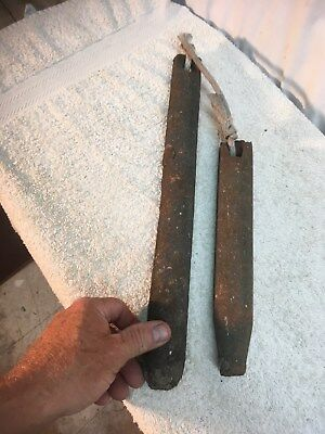 Vintage pair of Cast Iron Window Sash Weights Architectural Salvage Boat Anchor