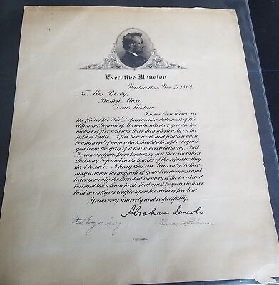 Abraham Lincoln Letter Copy Executive Mansion Nov 21, 1864 12x10 Steel Engraving