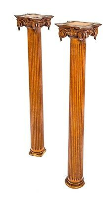 Two Matching 19Th Century Victorian Era Fluted Columns With Heavily Ornamented C