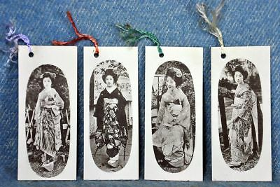 Vintage WWII GEISHA BOOKMARKS 4 Pc. Set Black & White Images WW2 Memorabilia