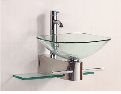 Merveilleux Bathroom Vanities Sink Glass Vessel Stainless Steel Pedestal Combo With  Faucet