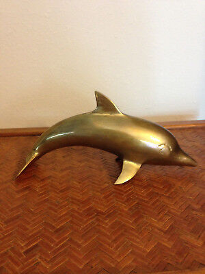 "Vintage Large Brass Dolphin Figurine/ Paperweight 8"" Beach house decor"