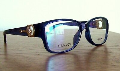 a6a5de4b49 New GUCCI Eyeglass Frame BLUE   GOLD Clear Lens tags case Cloth Authentic