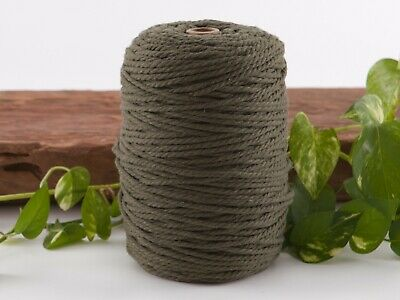 4mm khaki macrame rope coloured 3ply cotton cord string strand twisted olive
