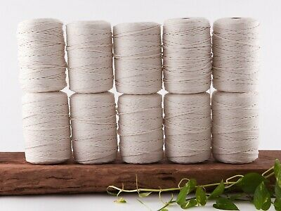 macrame rope 3mm 2500m 10kg string cord cotton bulk wholesale natural 3 strand