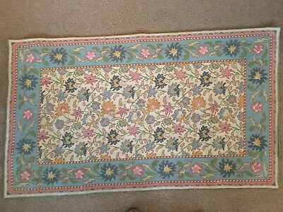 "Antique Hand Made Needlepoint Wool Area Rug 58"" x 34"" Aqua Ivory Colors Greek"