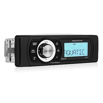 Aquatic AV AQ-MP-6BT Bluetooth Shallow Mount Waterproof 288W Marine Stereo RCA A