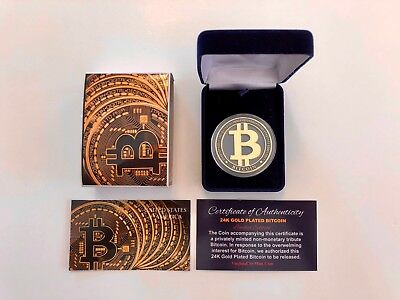 Bitcoin ...Physical Commemorative Coin...24K Gold Plated..With Case...w/ COA