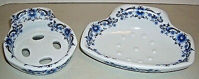 VTG Porcelain Ceramic Bath Soap toothpaste holders,70s Italian Blue-White Floral