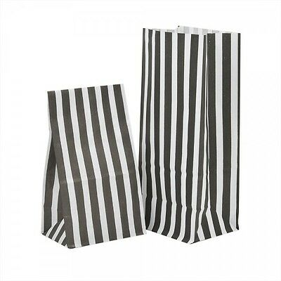 BLACK Candy Stripe Paper Party Bags PICK n MIX  Wedding Gifts Loot 11cm x 25cm