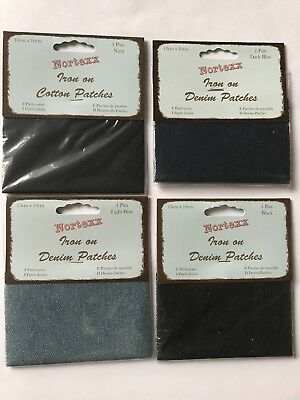 Iron on Denim Patches in four colours