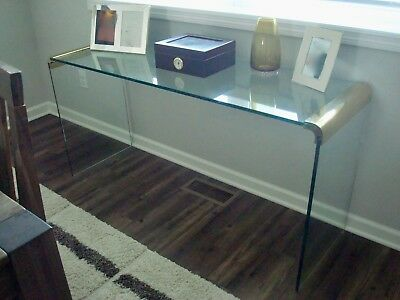 Leon Rosen for Pace, Waterfall Console Table- Mid Century Modern, Brass & glass