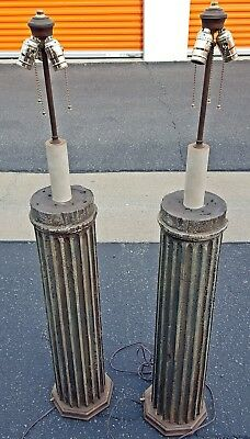 2 Antique Column Floor Lamps Architectural Salvage Classical Chippy Paint 19th c